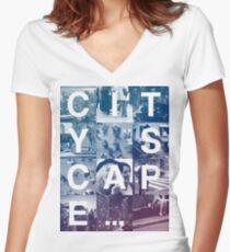 CITY SCAPE Women's Fitted V-Neck T-Shirt
