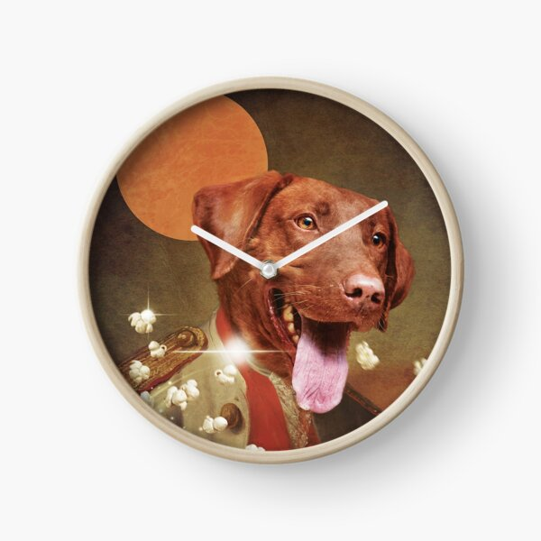 Custom renaissance Labrador retriever portrait eating pop corn, art wall modern  Clock