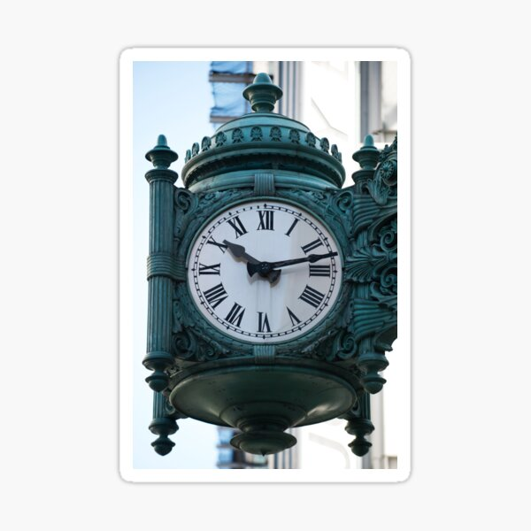 Marshall fields clock Sticker