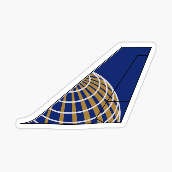 """United Airlines Boeing 747-400 Continental """"Globe"""" Tail (Left Facing) Sticker"""