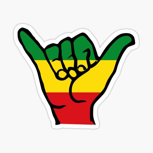 Aloha, Shaka Hände, Reggae Rasta Fari Farben Sticker