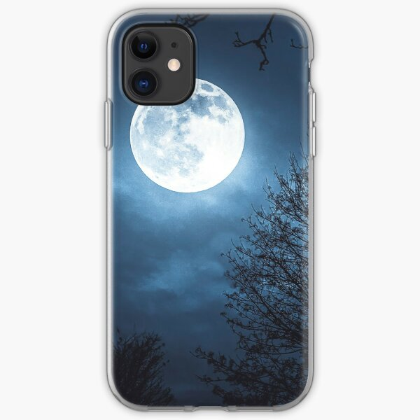 Full moon at dark night between trees, Stunning Image iPhone Soft Case