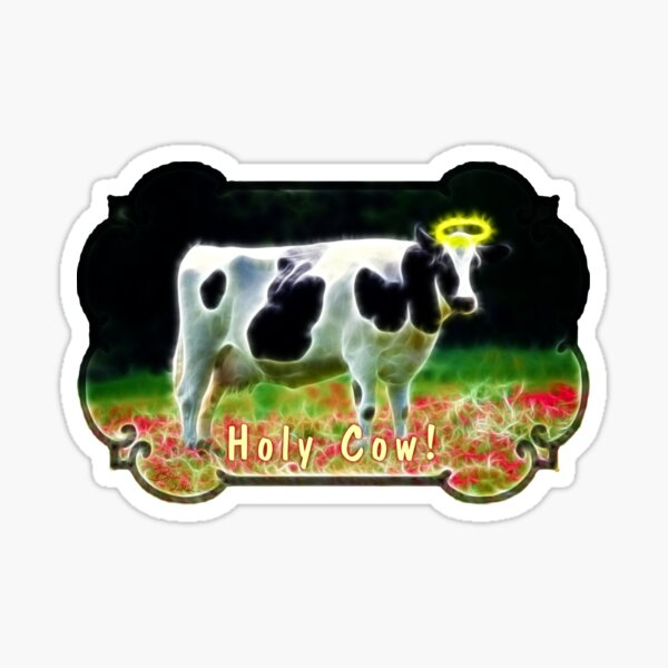 Funny Holy Cow Angel Holstein Animal Humor Sticker