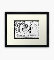 Gadafi in Hell Jobs in Heaven cartoon Framed Print