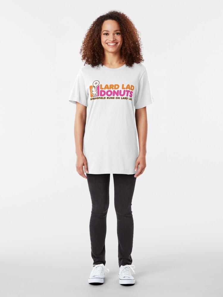 Alternate view of Lard Lad Donuts Slim Fit T-Shirt