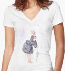 miss Ro co co Women's Fitted V-Neck T-Shirt