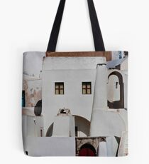Santorini Streetscape Tote Bag