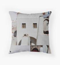 Santorini Streetscape Throw Pillow
