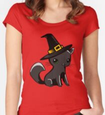 Myu the Candyfloss Cat... on Halloween! Women's Fitted Scoop T-Shirt
