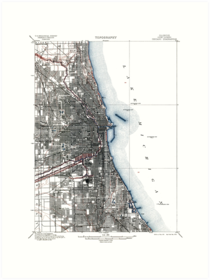 Vintage Chicago Illinois Map by parmarmedia