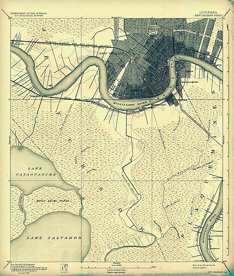 Vintage 1891 map of New Orleans by parmarmedia
