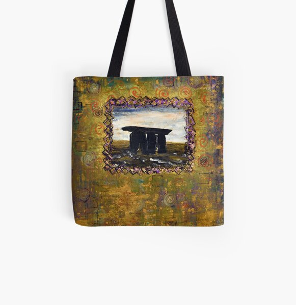 Irish Archaeological - Genetic Memory - Acrylic on Canvas by Kathrina Shine All Over Print Tote Bag