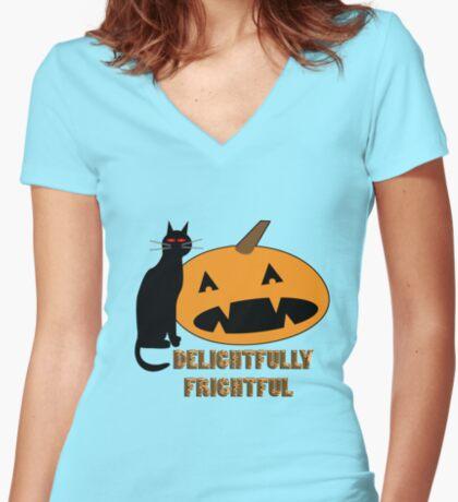 delightfully frightful Women's Fitted V-Neck T-Shirt
