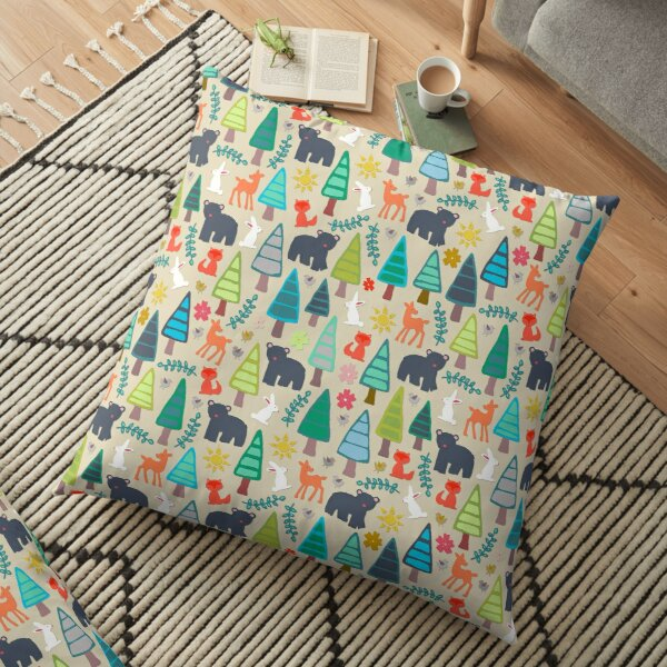 summer woodland Floor Pillow