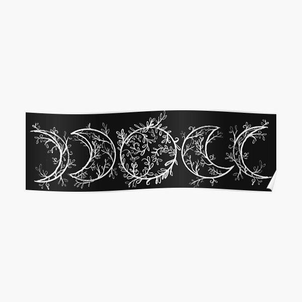 Fases lunares de rama y vid (horizontal-blanco) Póster