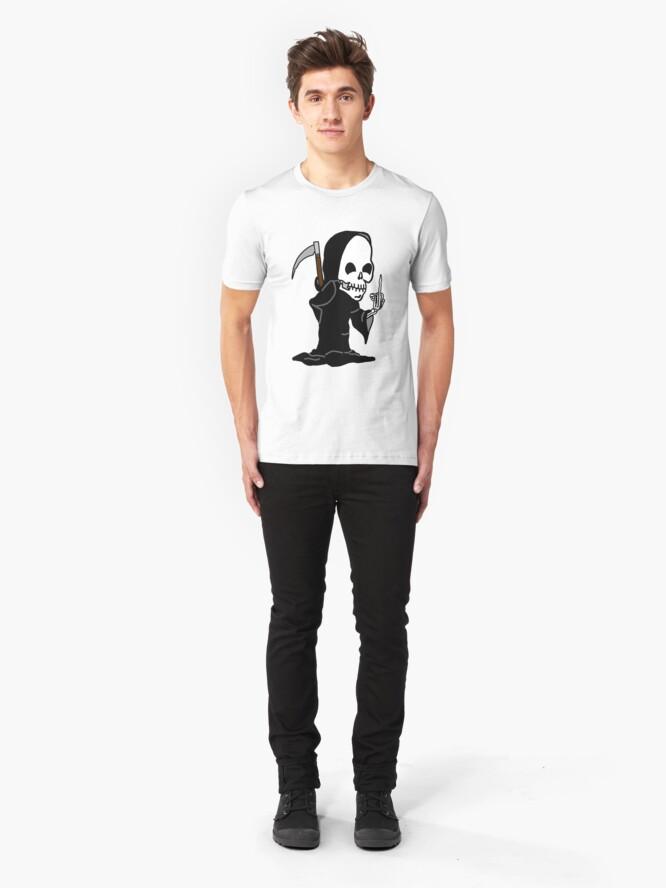 Alternate view of Grim Reaper Giving the Finger Slim Fit T-Shirt