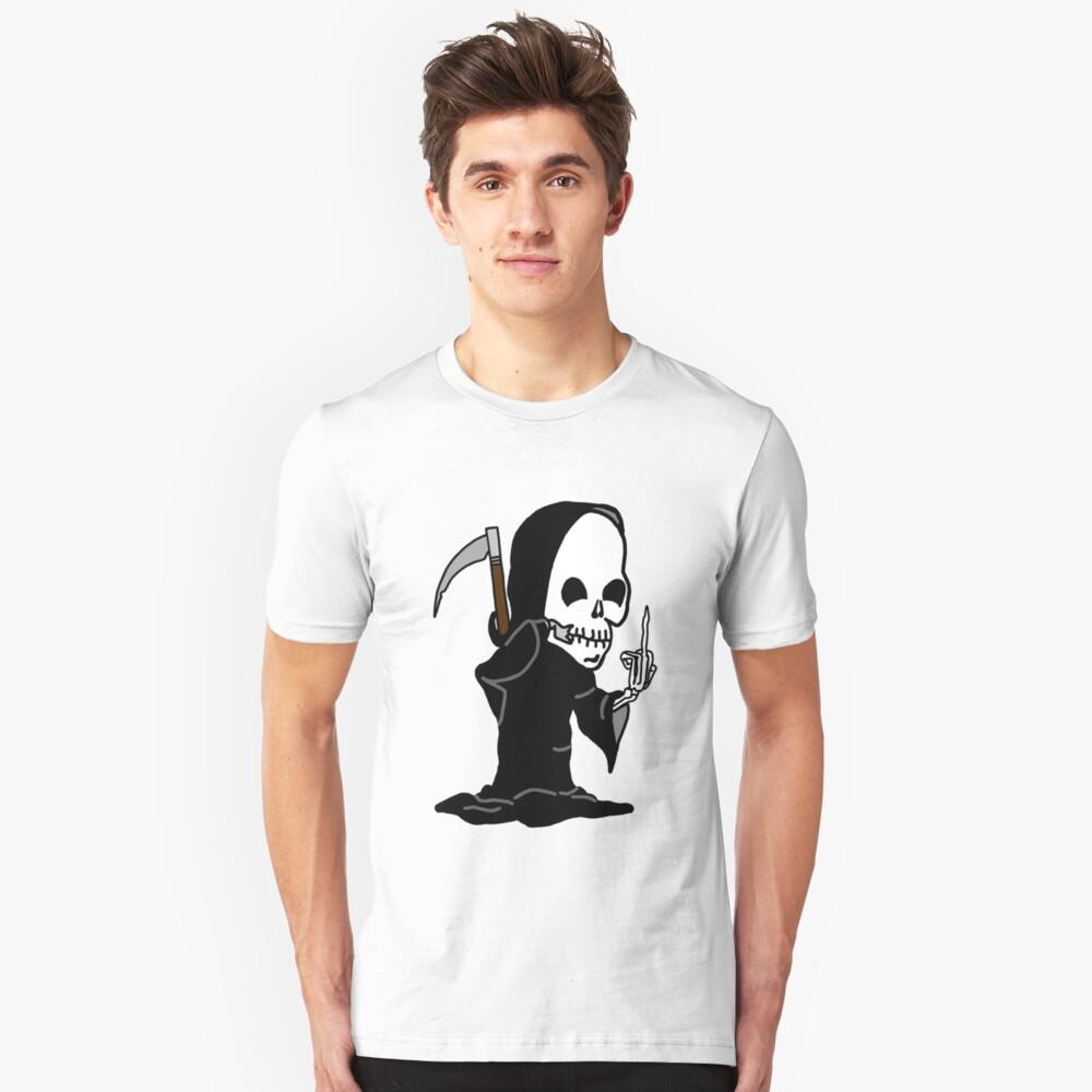 Grim Reaper Giving the Finger Slim Fit T-Shirt