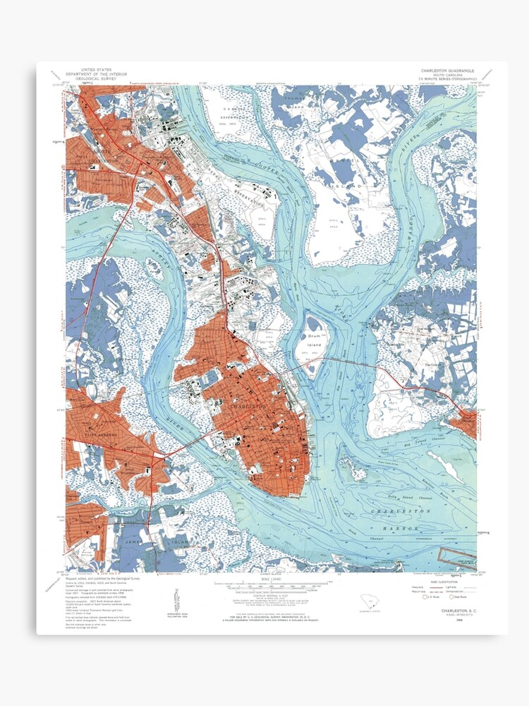 image regarding Printable Maps of South Carolina called Charleston South Carolina Map Artwork Canvas Print