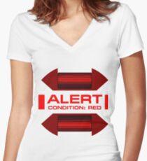 RED ALERT: Star Trek and Beyond Women's Fitted V-Neck T-Shirt