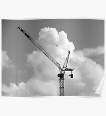 Cumulonimbus Crane (B&W) Poster