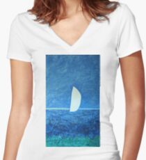 Ghost Sail  Women's Fitted V-Neck T-Shirt