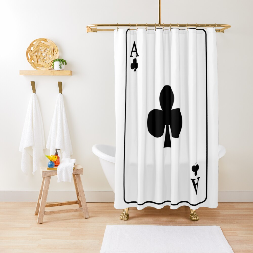 Playing Card Ace Of Clubs Shower Curtain