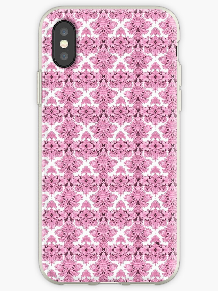 Vintage chic girly pink white floral damask  by Maria Fernandes