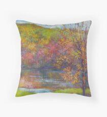 Mountain lake in fall Throw Pillow