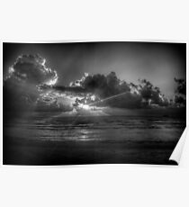 Sunrise at the beach: a study in Black and White Poster