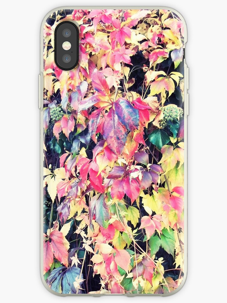 Pink yellow autumn fall winter leaves pattern  by Maria Fernandes