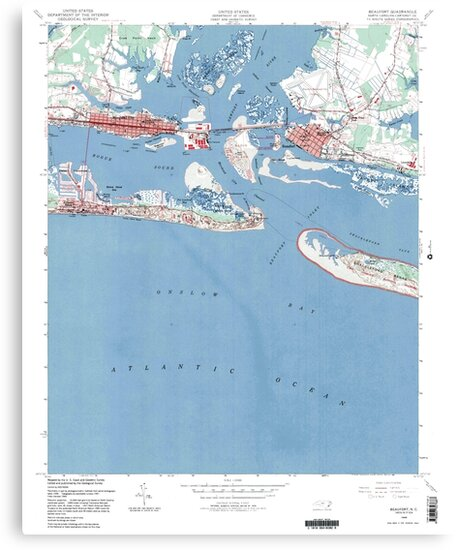 Historical Map of Beaufort North Carolina by parmarmedia