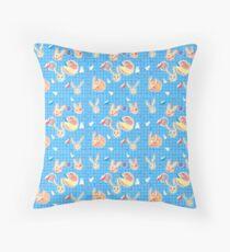 Cream Bunnies in Space Throw Pillow
