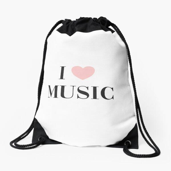 I love music  Drawstring Bag
