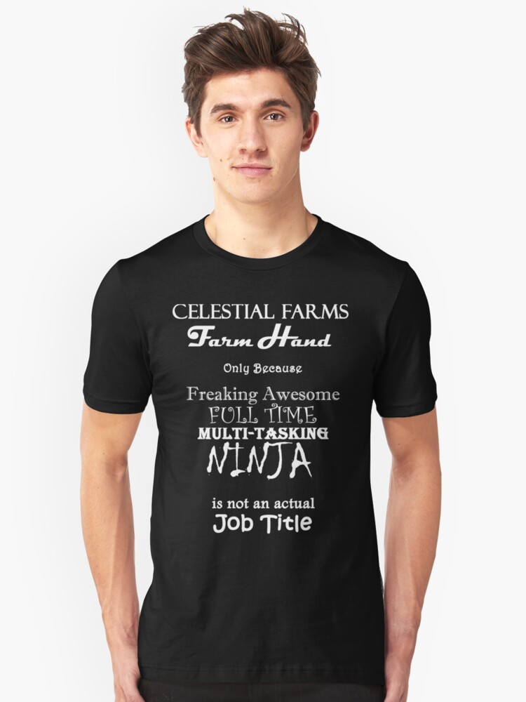 Team Celestial Farms - Volunteer White Font Unisex T-Shirt Front