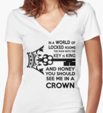Moriarty Key Quote - Black Text Women's Fitted V-Neck T-Shirt