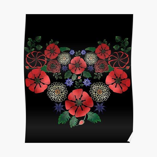 Vintage Ukrainian Embroidery Vyshyvanka Style Cute Floral Ukraine Gift Poster