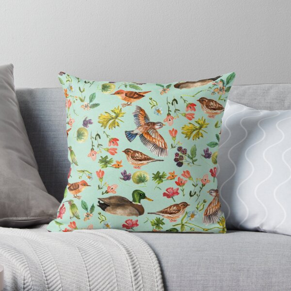 Birds and wild flowers Throw Pillow