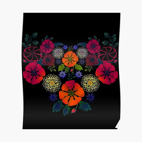 Vintage Ukrainian Embroidery Vyshyvanka Style Retro Floral Ukraine Gift Poster