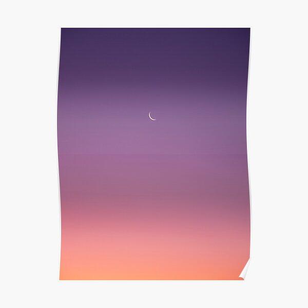 Crescent Moon Sunset Poster