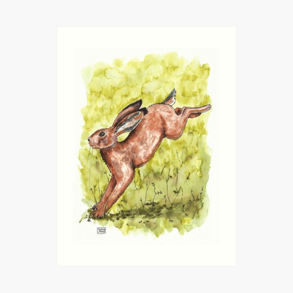 Hare felt playful, leaping higher than ever before. Art Print