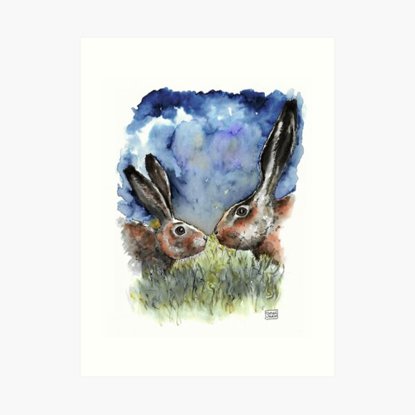 Hare and Mother Hare - watercolour Art Print