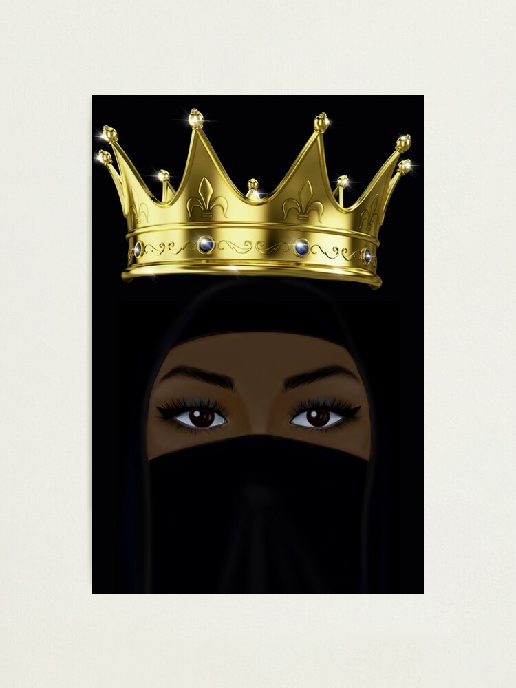 Muslimah Queen Wearing Crown And Niqab Drawing Photographic Print By Imanitasong Redbubble Assalamualaikum, welcome back to my channel,so this video made with white flower crown. redbubble