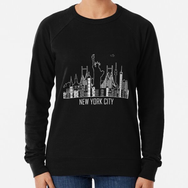 New York City Skyline Silhouette with Statue of Liberty USA United States of America Lightweight Sweatshirt