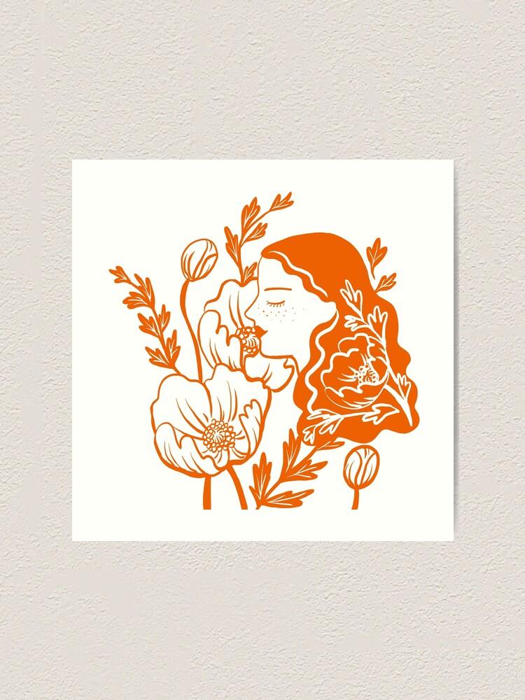 Alternate view of Blooming Lady-Orange Art Print