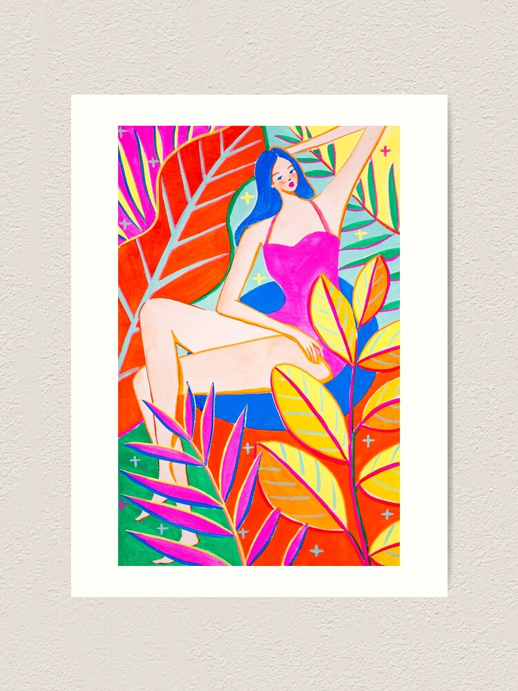 Alternate view of Girl and Colorful Leaves Art Print