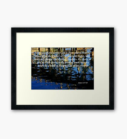wavy reflections with james 1:17-18 Framed Print