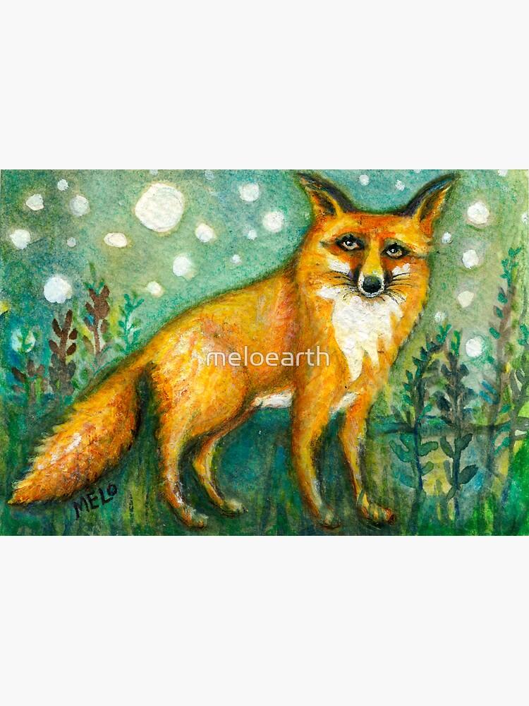 Portrait of Wise Fox, Wildlife art, orange animal, meloearth art by meloearth