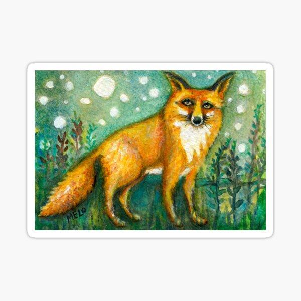 Portrait of Wise Fox, Wildlife art, orange animal, meloearth art Sticker