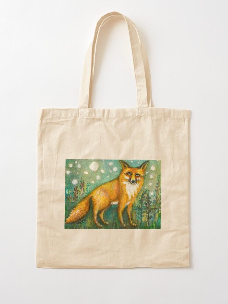 Alternate view of Portrait of Wise Fox, Wildlife art Tote Bag