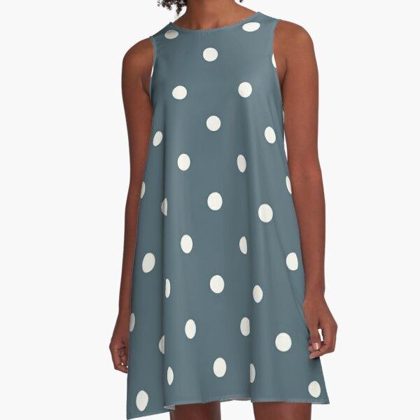 Classic Polka Dots In Powder Blue Design A-Line Dress